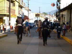 Heavy weekend traffic downtown Talpa !