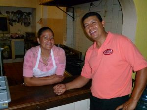 Efran, the waiter, giving your order to Maria. the chef !